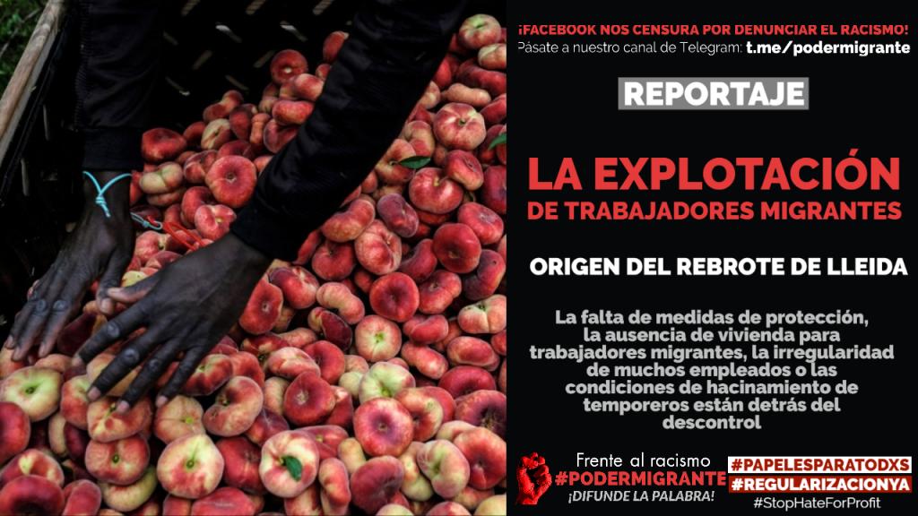 LA EXPLOTACIÓN DE TRABAJADORES MIGRANTES, origen del rebrote de Lleida