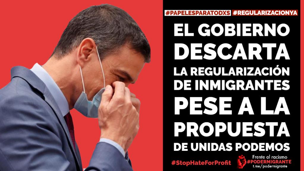 EL GOBIERNO DESCARTA LA REGULARIZACION de inmigrantes pese a la propuesta de Unidas Podemos