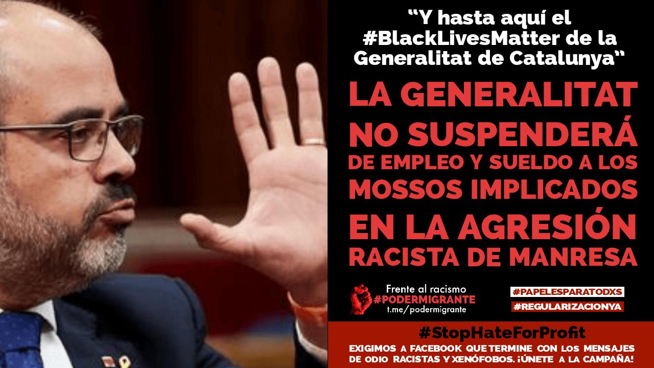 La Generalitat catalana no suspenderá de empleo y sueldo a los mossos implicados en la agresión racista de Manresa