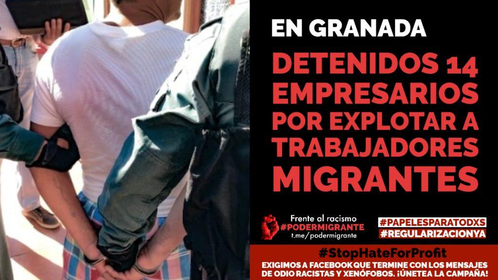 Detenidos 14 empresarios en Granada por explotar a trabajadores migrantes