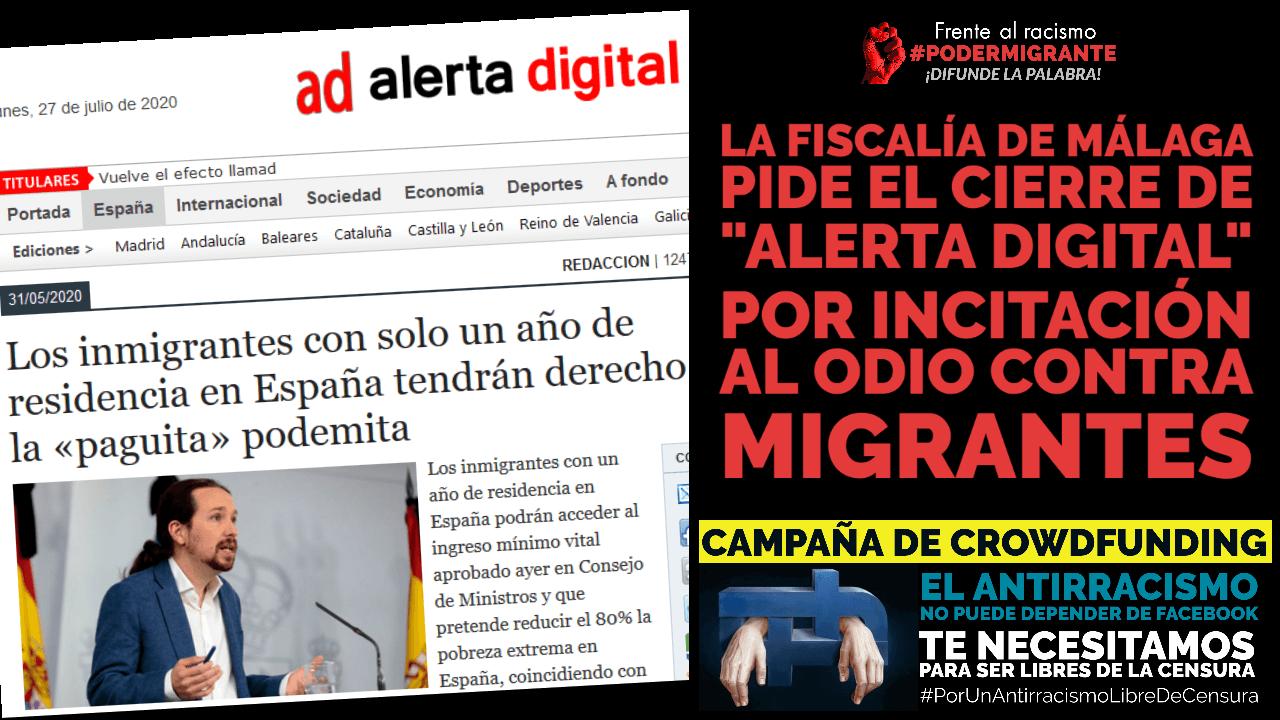 """LA FISCALÍA DE MÁLAGA PIDE EL CIERRE DE """"ALERTA DIGITAL"""" POR INCITACIÓN AL ODIO"""