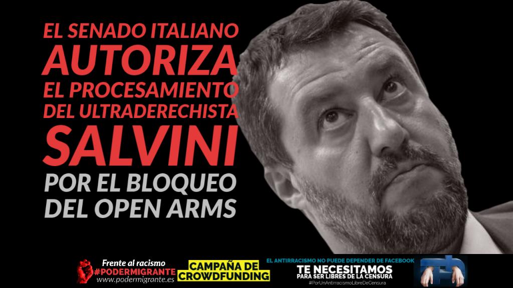 EL SENADO ITALIANO AUTORIZA EL PROCESAMIENTO DEL ULTRADERECHISTA SALVINI POR EL BLOQUEO DEL OPEN ARMS