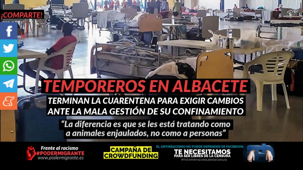 TRABAJADORES TEMPOREROS EN ALBACETE: Terminan la cuarentena para exigir cambios ante la mala gestión de su confinamiento