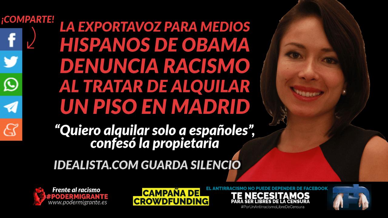 LA EXPORTAVOZ PARA MEDIOS HISPANOS DE OBAMA, Katherine Vargas, denuncia racismo al tratar de alquilar un piso en Madrid