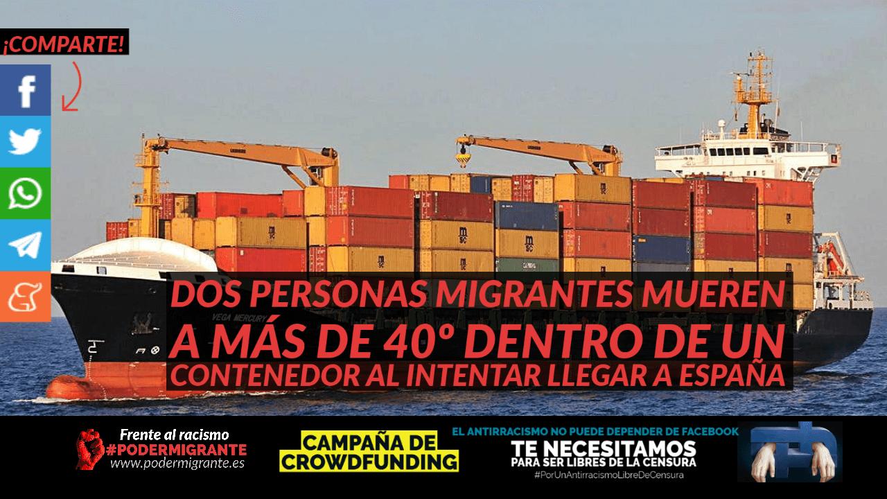 VALENCIA: Dos personas migrantes mueren a más de 40º dentro de un contenedor al intentar llegar a España