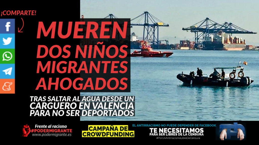 MUEREN DOS NIÑOS MIGRANTES AHOGADOS tras saltar al agua desde un carguero en Valencia para no ser deportados