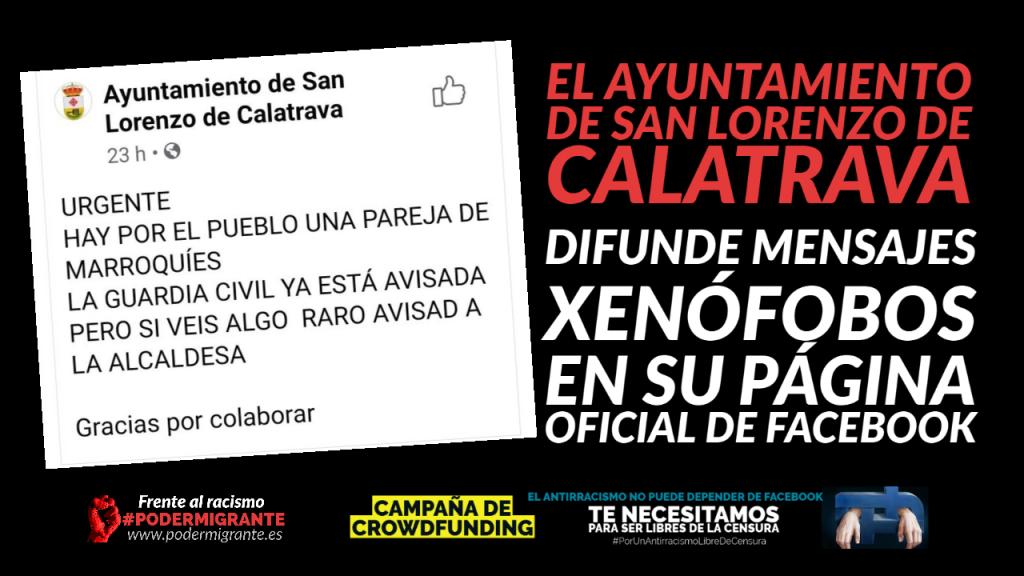 EL AYUNTAMIENTO DE SAN LORENZO DE CALATRAVA DIFUNDE MENSAJES XENÓFOBOS EN SU PÁGINA OFICIAL DE FACEBOOK