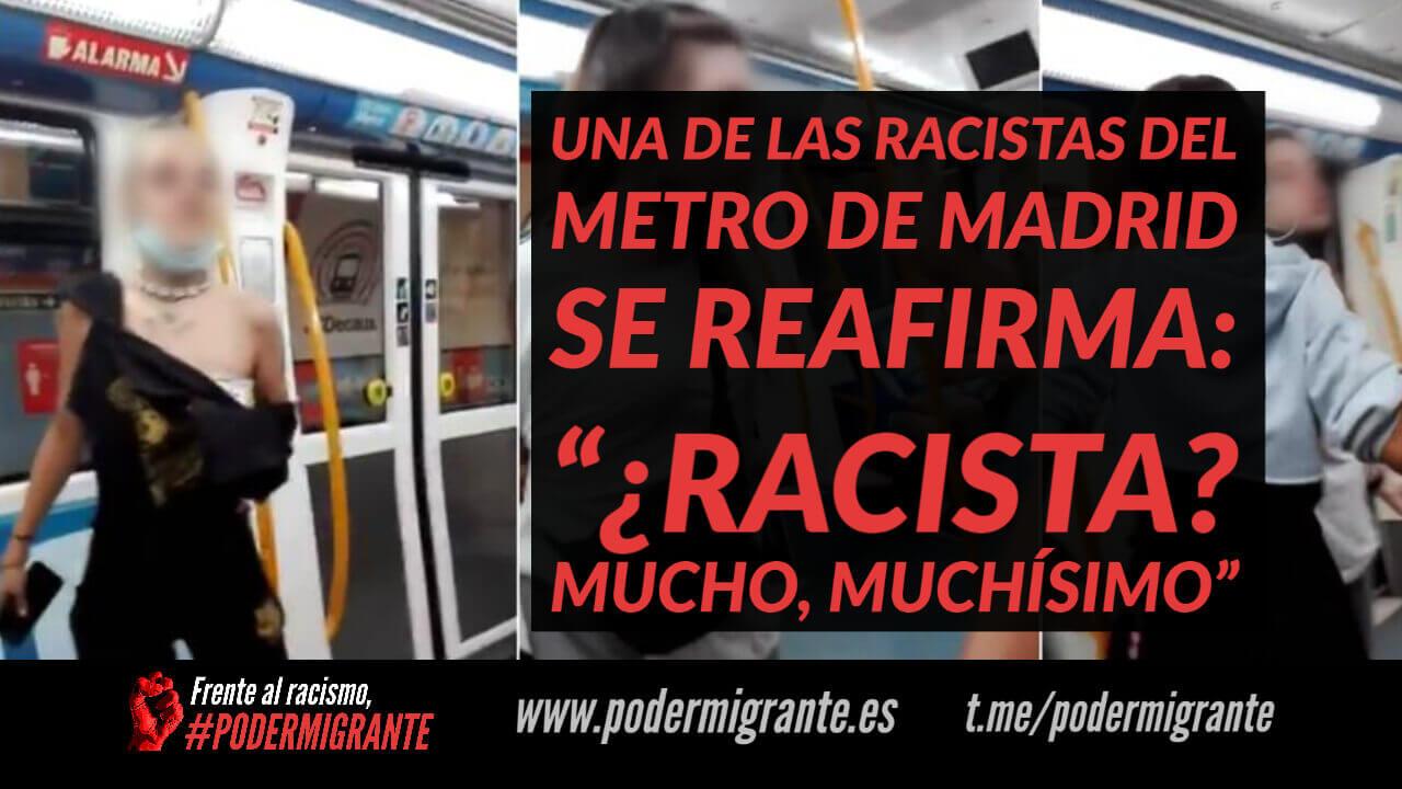 """UNA DE LAS RACISTAS DEL METRO DE MADRID SE REAFIRMA: """"¿RACISTA? MUCHO, MUCHÍSIMO"""""""