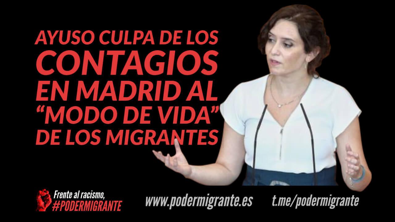 """DÍAZ AYUSO CULPA DE LOS CONTAGIOS EN MADRID AL """"MODO DE VIDA"""" DE LOS MIGRANTES"""