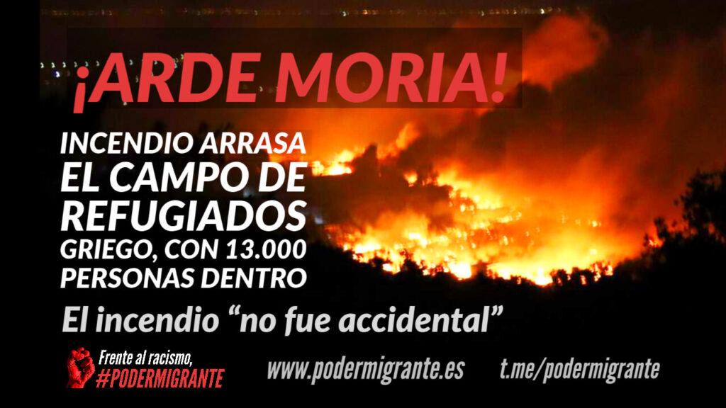 INCENDIO ARRASA EL CAMPO DE REFUGIADOS GRIEGO DE MORIA