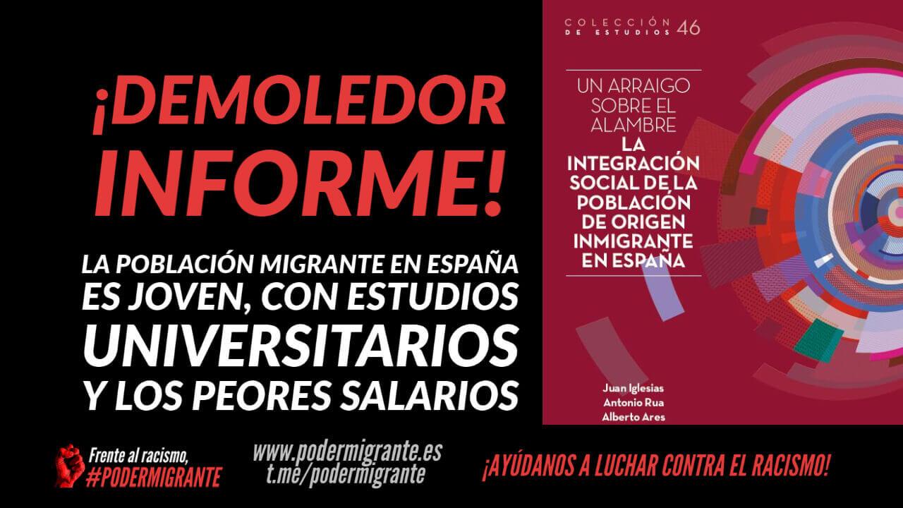 DEMOLEDOR INFORME: La población inmigrante en España es joven, con estudios universitarios y los peores salarios