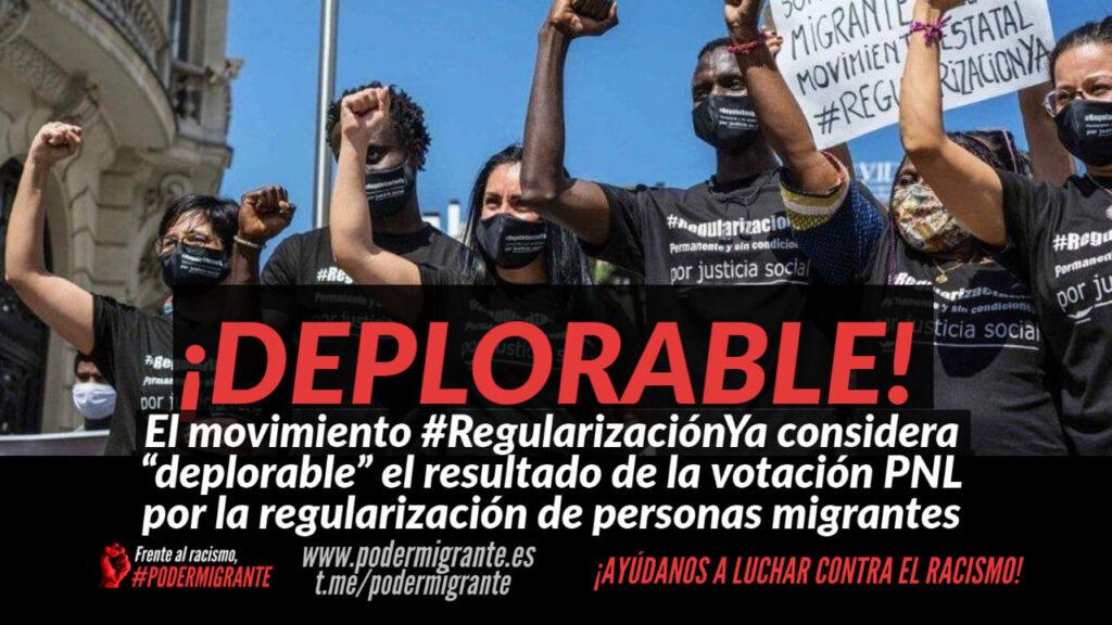 """REGULARIZACIONYA CONSIDERA """"DEPLORABLE"""" EL RESULTADO DE LA VOTACIÓN DE LA PNL POR LA REGULARIZACIÓN DE 600 MIL MIGRANTES"""