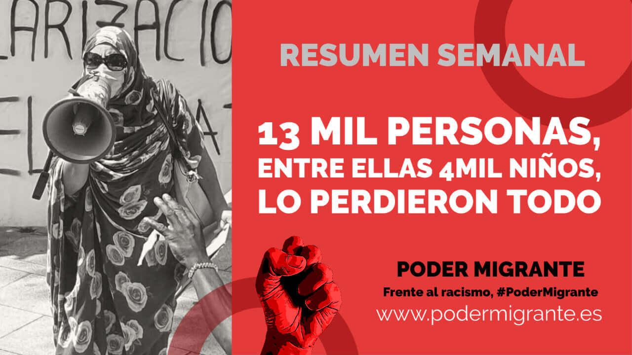 13 MIL PERSONAS, ENTRE ELLAS 4 MIL NIÑOS, LO PERDIERON TODO EN MORIA