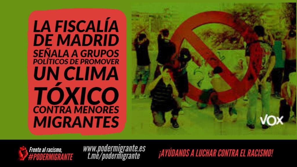 FISCALÍA DE MADRID SEÑALA A GRUPOS POLÍTICOS DE PROMOVER UN CLIMA TÓXICO CONTRA LOS MENORES MIGRANTES