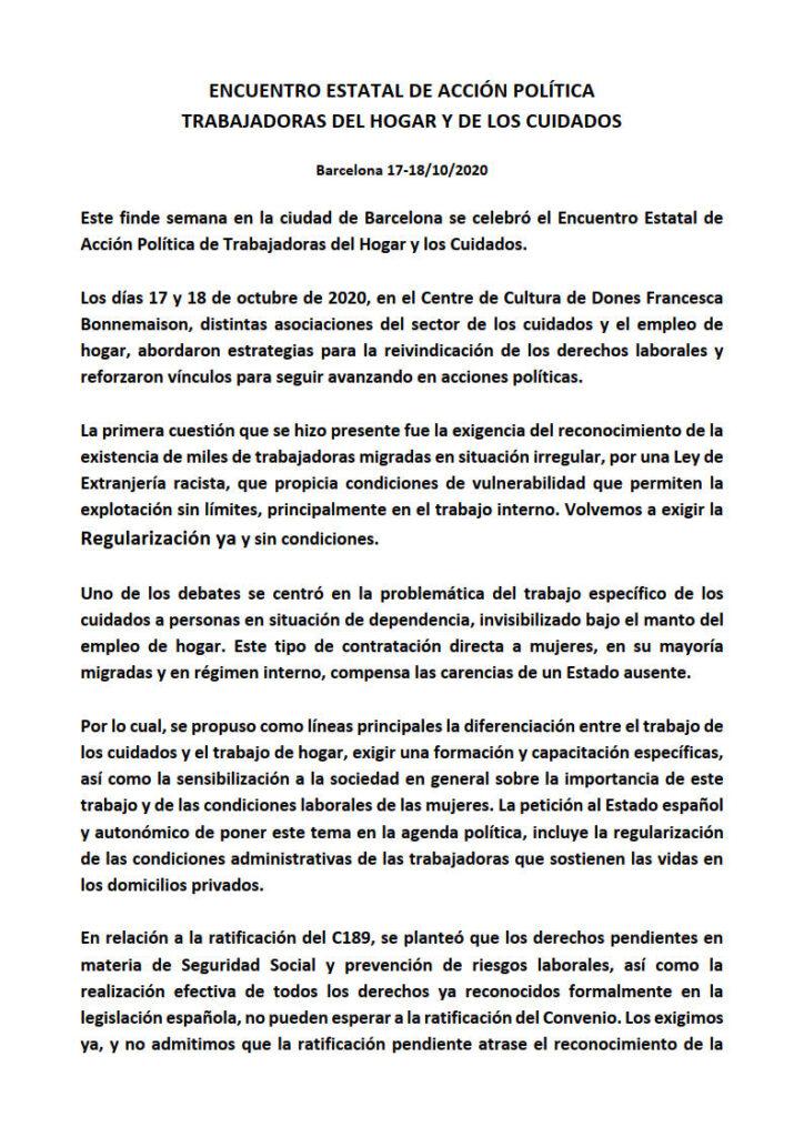 ORGANIZACIONES DE TRABAJADORAS DEL HOGAR Y DE CUIDADOS CELEBRAN ENCUENTRO ESTATAL PARA AVANZAR EN DERECHOS LABORALES