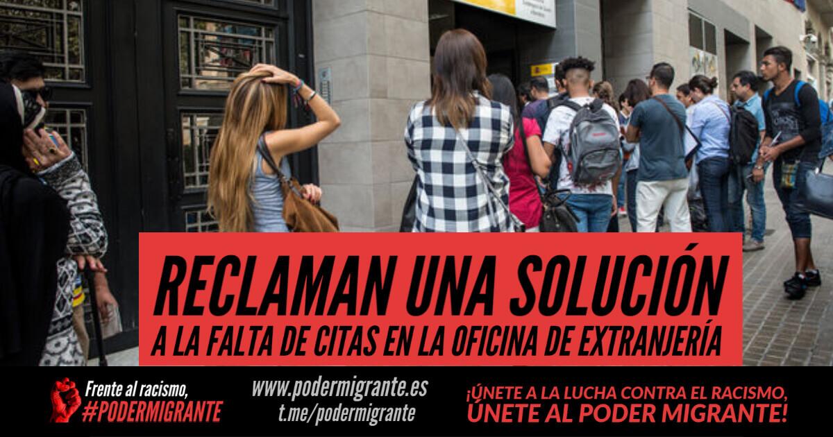 RECLAMAN UNA SOLUCIÓN A LA FALTA DE CITAS EN LA OFICINA DE EXTRANJERÍA