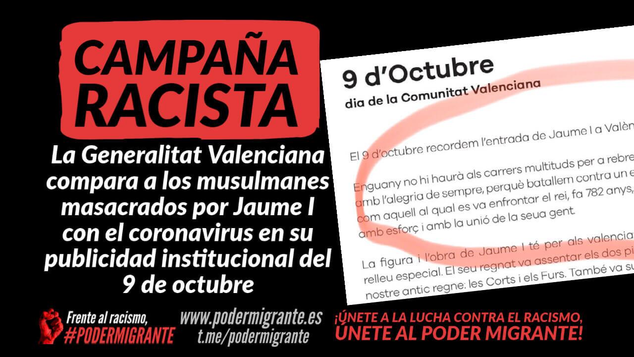 CAMPAÑA RACISTA: La Generalitat Valenciana compara a musulmanes masacrados por Jaume I con el coronavirus en su publicidad institucional del 9 de octubre