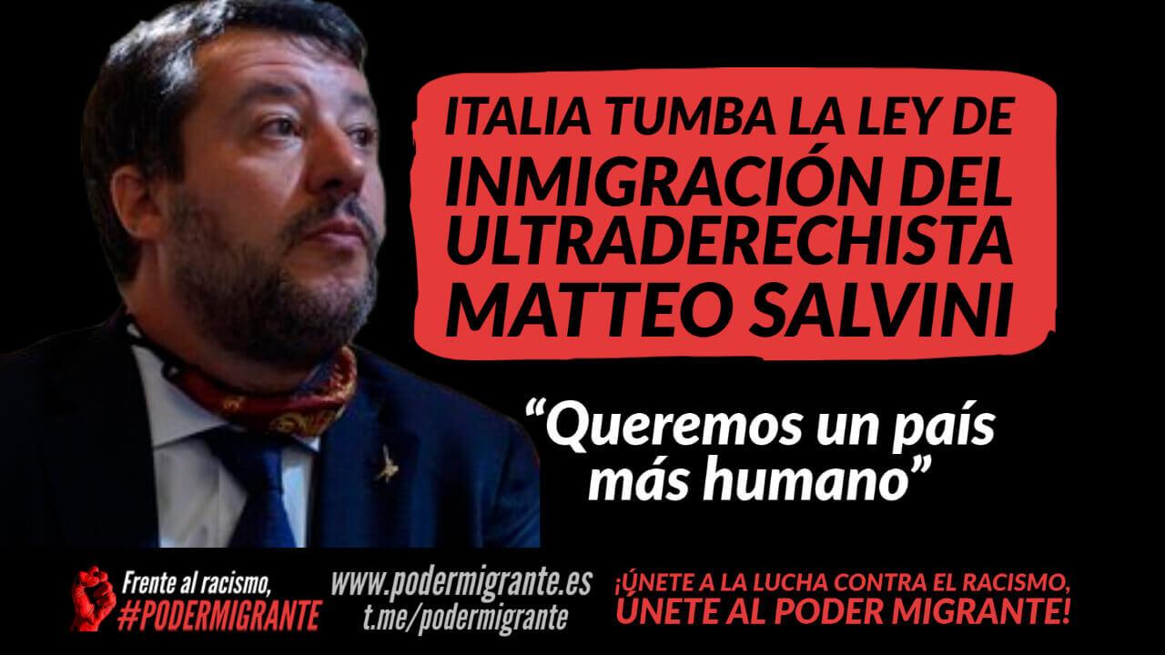 ITALIA TUMBA LA LEY DE INMIGRACIÓN DEL ULTRADERECHISTA MATTEO SALVINI