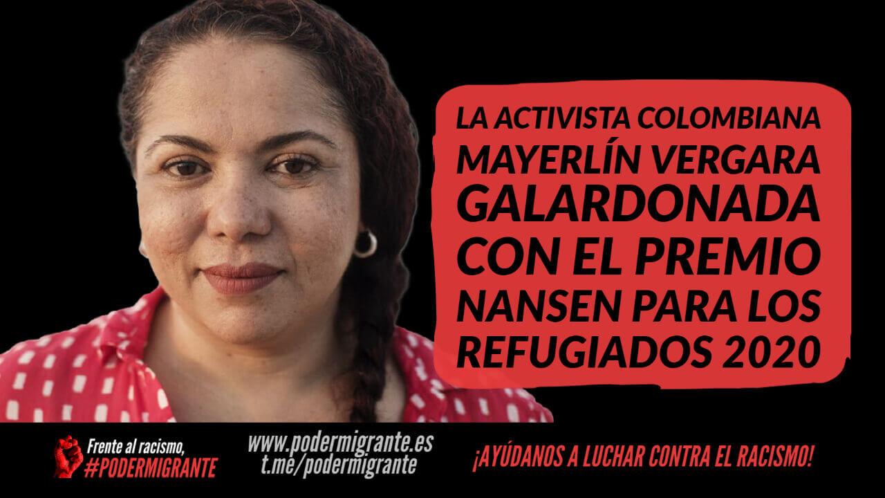 LA ACTIVISTA COLOMBIANA MAYERLÍN VERGARA, galardonada con el Premio Nansen para los Refugiados 2020