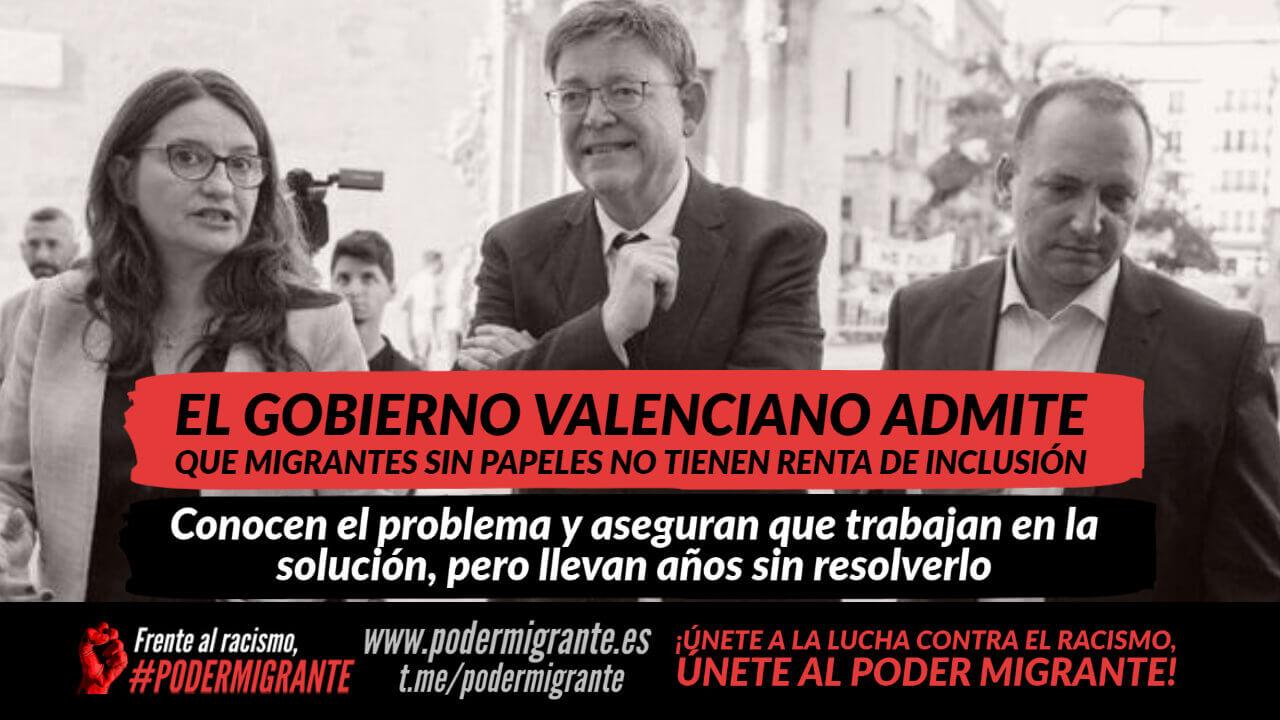 GOBIERNO VALENCIANO ADMITE QUE MIGRANTES SIN PAPELES NO TIENEN RENTA VALENCIANA DE INCLUSIÓN