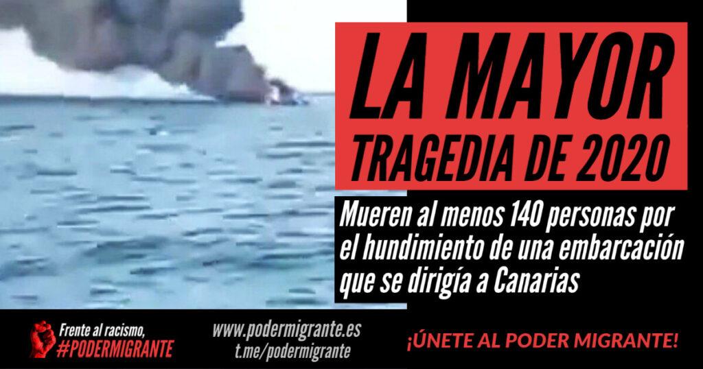 LA MAYOR TRAGEDIA DE 2020: Mueren al menos 140 personas migrantes por el hundimiento de una embarcación que se dirigía a Canarias