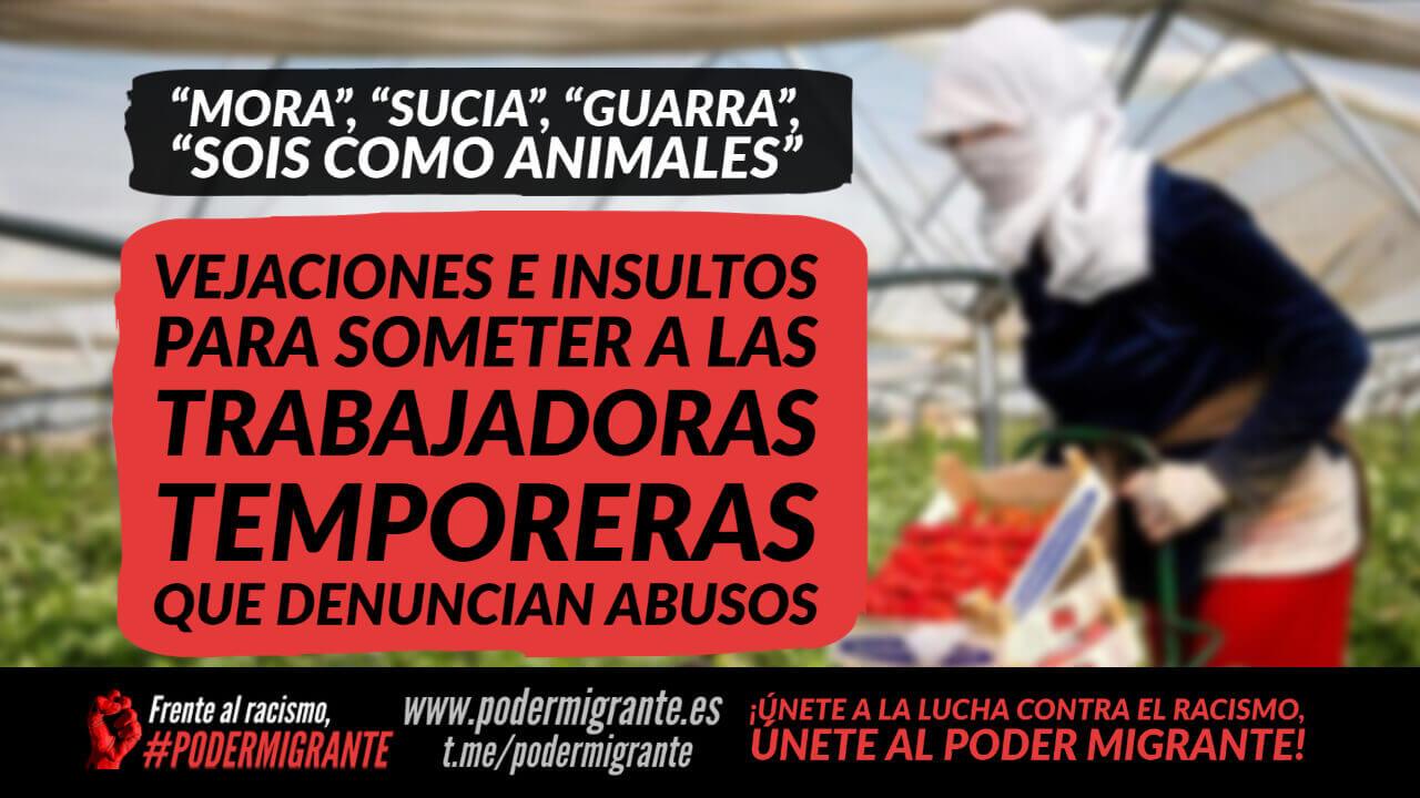 """""""MORA"""", """"SUCIA"""", """"GUARRA"""", """"SOIS COMO ANIMALES"""". Vejaciones e insultos para someter a las trabajadoras temporeras que denuncian abusos"""