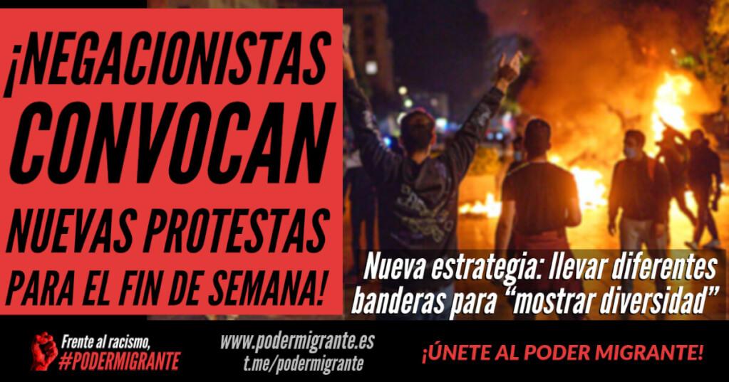 """NEGACIONISTAS CONVOCAN NUEVAS PROTESTAS PARA EL FIN DE SEMANA. La nueva estrategia: llevar diferentes banderas para """"mostrar diversidad"""""""