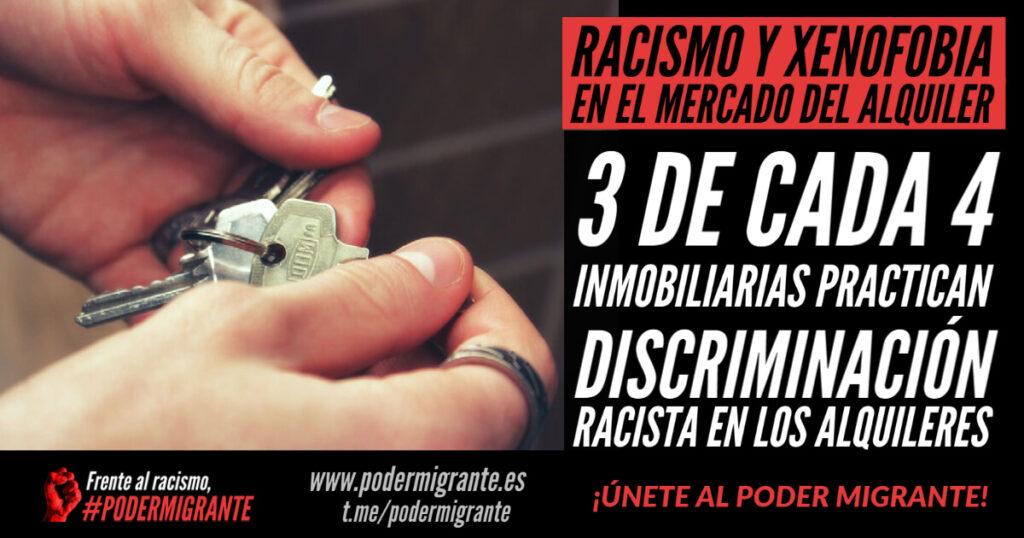 RACISMO Y XENOFOBIA EN EL MERCADO DEL ALQUILER: 3 de cada 4 inmobiliarias practican discriminación racista en los alquileres