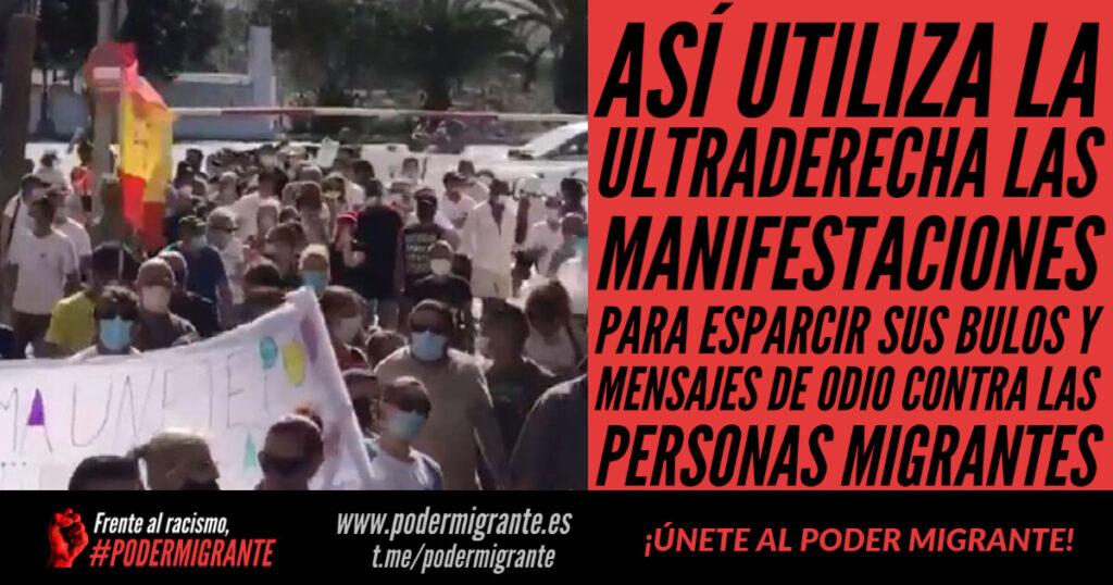 ASÍ UTILIZA LA ULTRADERECHA LAS MANIFESTACIONES para esparcir sus bulos y mensajes de odio racistas contra las personas migrantes