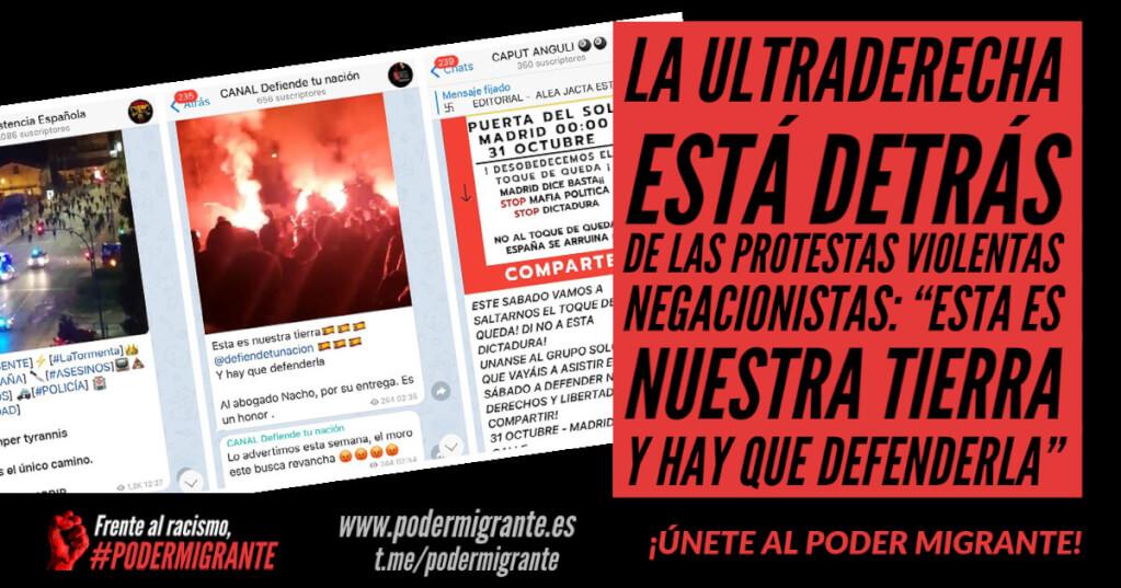 """GRUPOS DE LA ULTRADERECHA DETRÁS DE LAS PROTESTAS VIOLENTAS NEGACIONISTAS: """"Esta es nuestra tierra y hay que defenderla"""""""