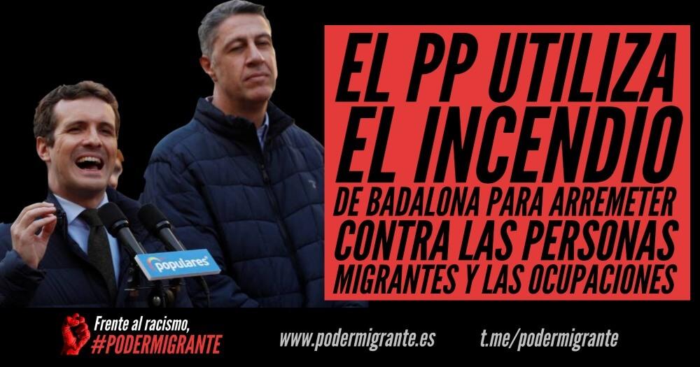 EL PP UTILIZA EL INCENDIO DE BADALONA PARA ARREMETER CONTRA LAS PERSONAS MIGRANTES Y LAS OCUPACIONES
