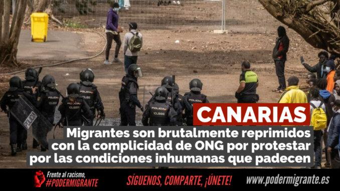 CANARIAS: Migrantes son brutalmente reprimidos con la complicidad de ONG por protestar por las condiciones inhumanas que padecen