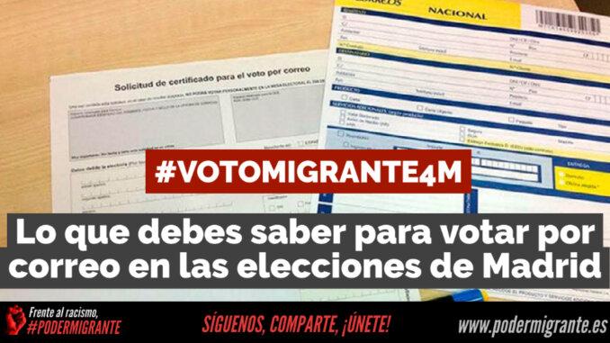 #VotoMigrante4M   Lo que debes saber para ejercer el voto por correo en las elecciones de Madrid