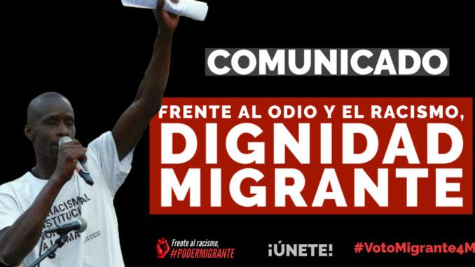 COMUNICADO: Frente al odio y el racismo, dignidad migrante
