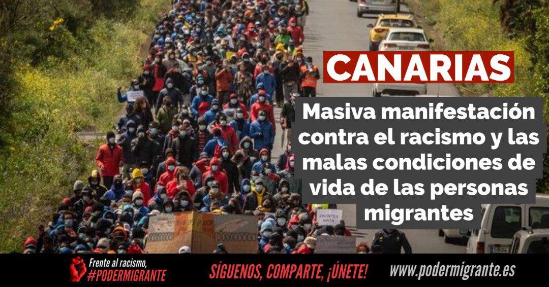 CANARIAS: Masiva manifestación de protesta contra el racismo y las malas condiciones de vida de las personas migrantes