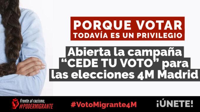 ABIERTA LA CAMPAÑA «CEDE TU VOTO» para las elecciones 4M de la Comunidad de Madrid