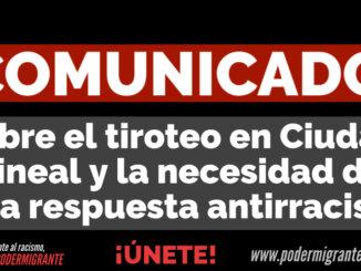COMUNICADO SOBRE EL TIROTEO en Ciudad Lineal y la necesidad de una respuesta antirracista