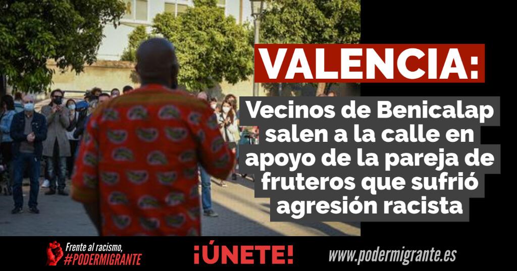 VALENCIA: Vecinos de Benicalap salen a la calle en apoyo de la pareja de fruteros que sufrió agresión racista